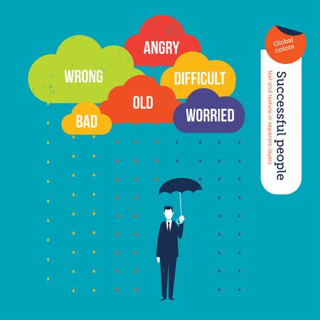 conquering adversity: El hombre de negocios Proteger a s� mismo de las palabras negativas en las nubes con un paraguas. Ilustraci�n del vector. Mundial de colores. Texto y textura en capas separadas.