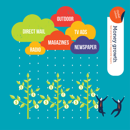 stock market  finance: Advertisement medium clouds raining money over plants businessmen happy. Vector illustration file. Global colors. Text and Texture in separate layers. Illustration