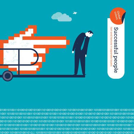 springboard: Cursor mano empujando un hombre en un trampolín a una piscina digital. Ilustración del vector. Mundial de colores. Texto y textura en capas separadas. Vectores