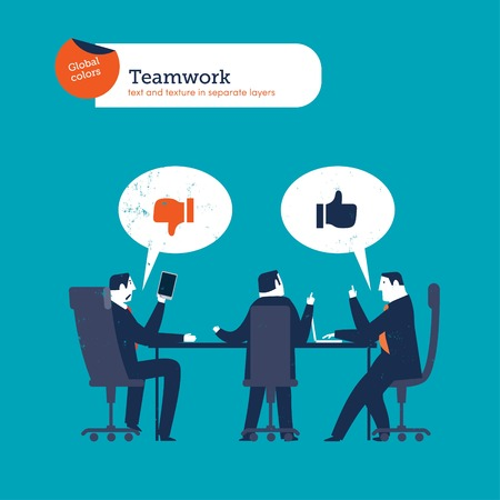 teamwork business: Businesspeople meeting saying I like I dont. Vector illustration file. Global colors. Text and Texture in separate layers. Illustration