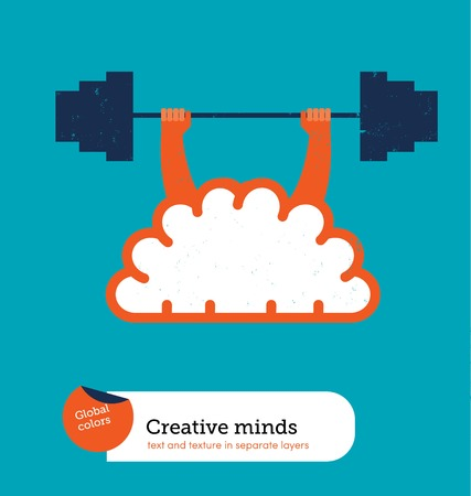 Brain weight lifting. Vector illustration file. Global colorslayers.