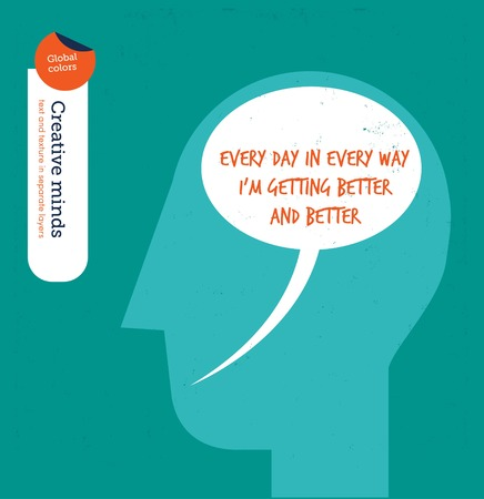 affirmations: Head with speech bubble brain better and better. Vector illustration file. Global colors. Text and Texture in separate layers. Illustration