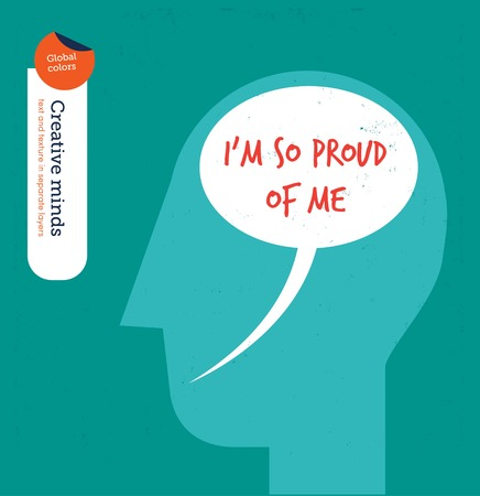 affirmations: Head with speech bubble brain proud of me. Vector illustration file. Global colors. Text and Texture in separate layers.