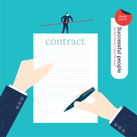 legal: Businessman signing a contract and tightrope business walker on the contract. Vector illustration file. Global colors. Text and Texture in separate layers.