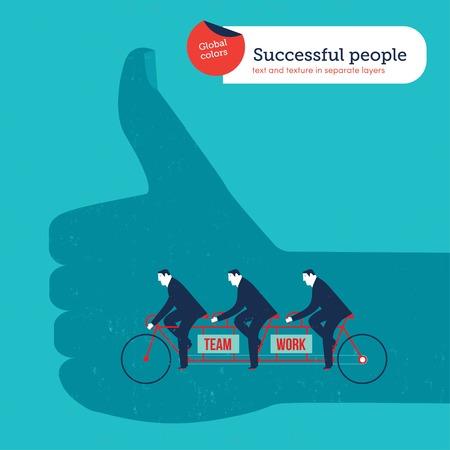 bike vector: Los hombres de negocios de la mano Ok en una bicicleta t�ndem. Ilustraci�n vectorial archivo. Mundial de colores. Texto y textura en capas separadas. Vectores