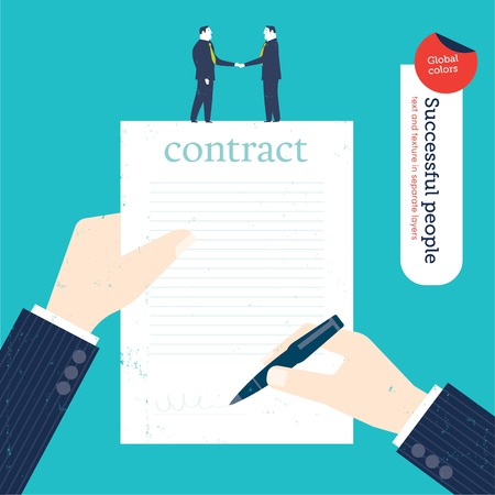 Businessman signing a contract and two businessmen shaking hands. Vector illustration file. Global colors. Text and Texture in separate layers. Ilustracja