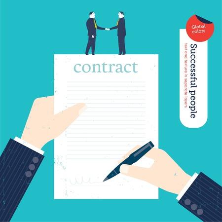 Zakenman ondertekening van een contract en twee zakenlieden handen schudden. Vector illustratie bestand. Global kleuren. Tekst en textuur in afzonderlijke lagen.