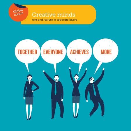Ondernemers samen iedereen behaalt meer gezegde. Vector illustratie bestand. Global colorslayer
