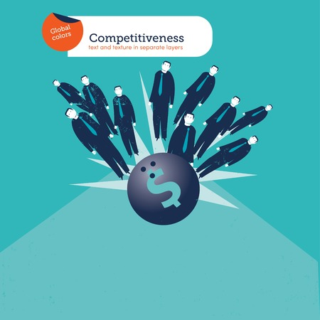 competitividad: Bolos dinero con empresarios. Ilustración vectorial archivo. Mundial de colores. Texto y textura en capas separadas.