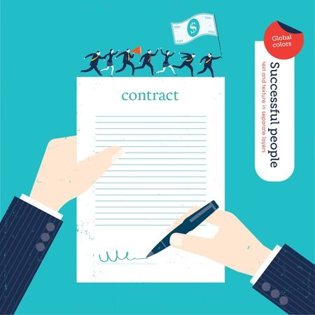 business concept: Businessman signing a contract businesspeople marching on it with money flag. Vector illustration Eps10 file. Global colors. Text and Texture in separate layers.