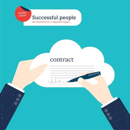 firmando: De negocios que firma un contrato en una nube. Ilustración vectorial archivo. Mundial de colores. Texto y textura en capas separadas. Vectores