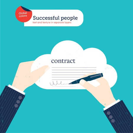 Businessman signing a contract in a cloud. Vector illustration file. Global colors. Text and Texture in separate layers.