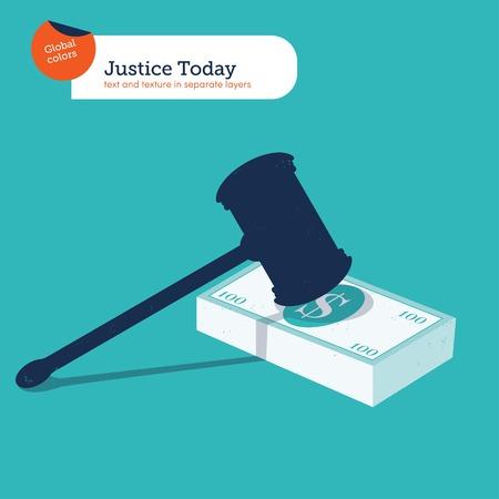 simbolo: Martello della giustizia su una pila di 100 dollari. Vector illustration EPS10 file. colori globali. Il testo e texture in strati separati.