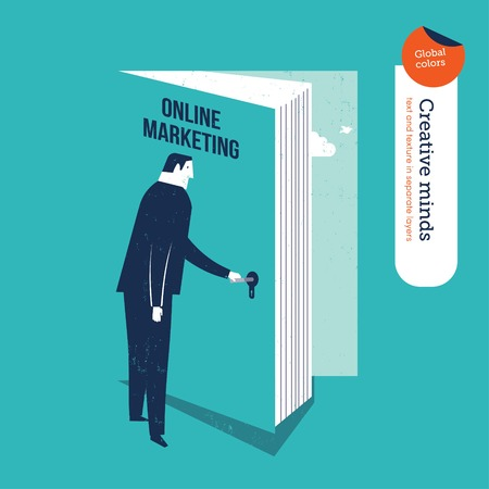 online education: Businessman opening a book door online marketing. Vector illustration file. Global colors. Text and Texture in separate layers.