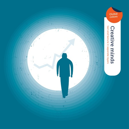 forefront: Light tunnel with chart arrow and businessman. Vector illustration file. Global colors. Text and Texture in separate layers.