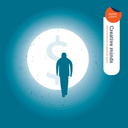 tunnel light: Light tunnel with dollar sign and businessman. Vector illustration file. Global colors. Text and Texture in separate layers.