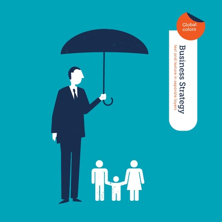 coordinating: Businessman protecting a family with an umbrella. Vector illustration file. Global colors. Text and Texture in separate layers.
