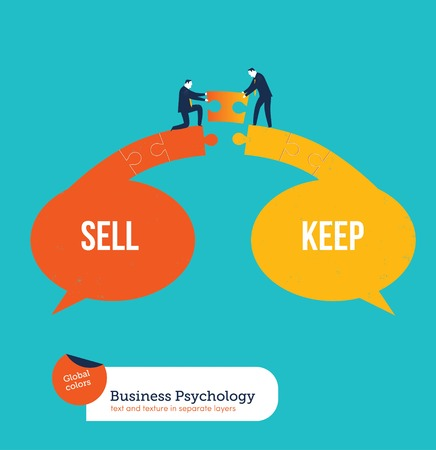business marketing: Businessmen finding a solution between sell and keep. Vector illustration file. Global colors. Text and Texture in separate layers. Illustration