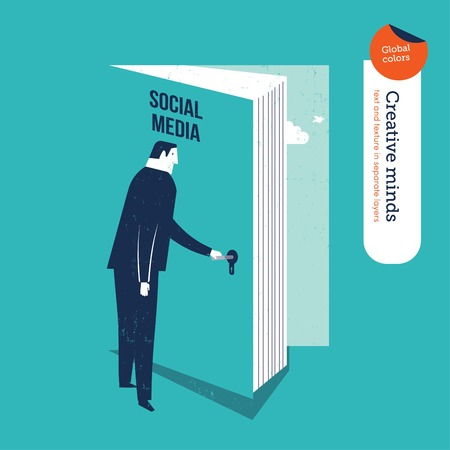 opening door: Businessman opening a book door to social media. Vector illustration file. Global colors. Text and Texture in separate layers.