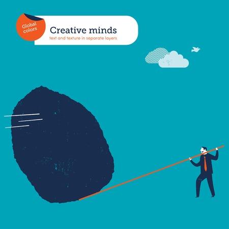palanca: Empresario mover una gran roca con una palanca. Ilustración vectorial archivo. Mundial de colores. Texto y textura en laico independiente