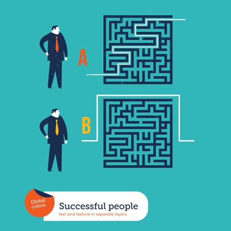 emotional stress: Businessmen using different ways to go out of a maze. Vector illustration file. Global colors. Text and Texture in separate layers.
