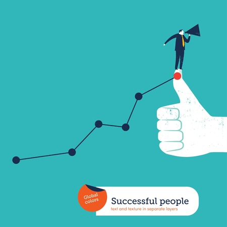 forefront: Businessman with megaphone on I like hand with ascending chart. Vector illustration file. Global colors. Text and Texture in separate layers.