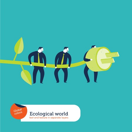 global finance: Businesspeople using green energy. Vector illustration file. Global colors. Text and Texture in separate layers. Illustration