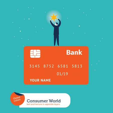 pin entry: Businessman catching a star on top of a credit card. Vector illustration file. Global colors. Text and Texture in separate layers.
