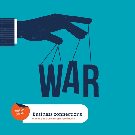 employment issues: Hand of a businessman controlling the war. Vector illustration file. Global colors. Text and Texture in separate layers.