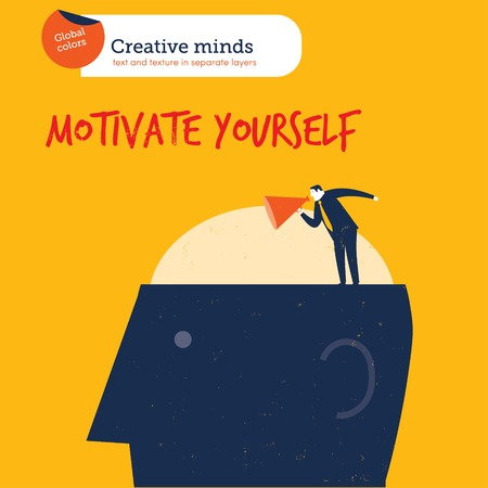 adults learning: Coach on a head motivate yourself. Vector illustration file. Global colors. Text and Texture in separate layers. Illustration