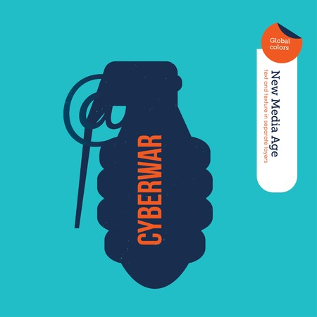 cyberwar: Grenade with an at symbol. Vector illustration Eps10 file. Global colors. Text and Texture in separate layers. Illustration