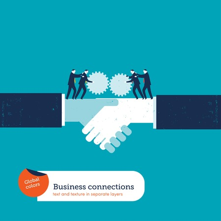 classified ad: Businessmen with gears on a handshake. Vector illustration file. Global colors. Text and Texture in separate layers.