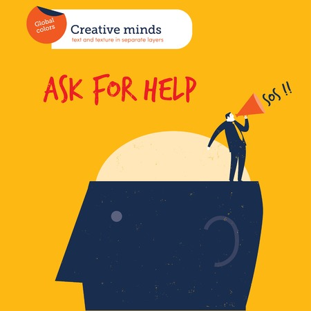 Businessman on a head asking for help. Vector illustration file. Global colors. Text and Texture in separate layers.