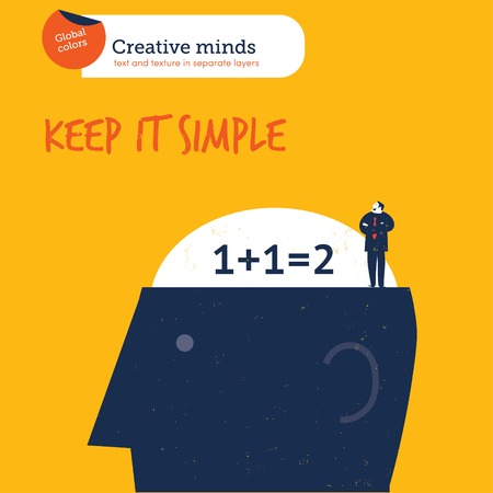 keep in: Head with brain keep it simple. Vector illustration file. Global colors. Text and Texture in separate layers.