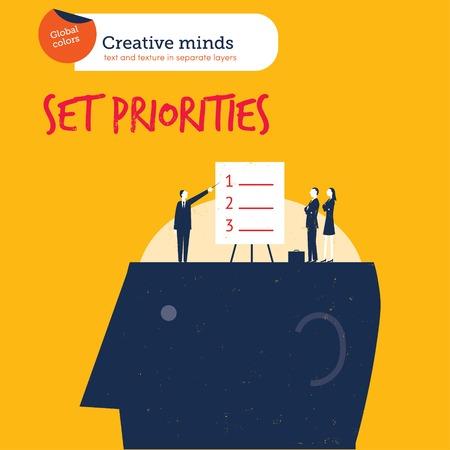 prioridades: Empresarios establecimiento de prioridades en la cabeza. Ilustraci�n vectorial archivo. Mundial de colores. Texto y textura en capas separadas.