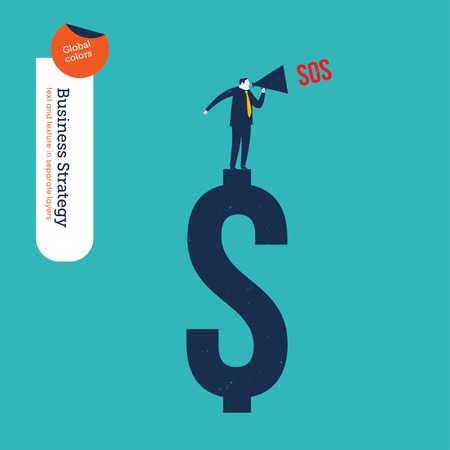 emotional stress: Businessman with megaphone on a dollar sign asking for help. Vector illustration file. Global colors. Text and Texture in separate layers.