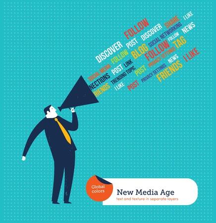 Zakenman met megafoon het spreken van nieuwe media-tags. Vector illustratie bestand. Global kleuren. Tekst en textuur in afzonderlijke lagen. Stock Illustratie