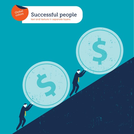 Businessmen pushing dollar coins uphill. Vector illustration file. Global colors. Text and Texture in separate layers. Vector Illustration
