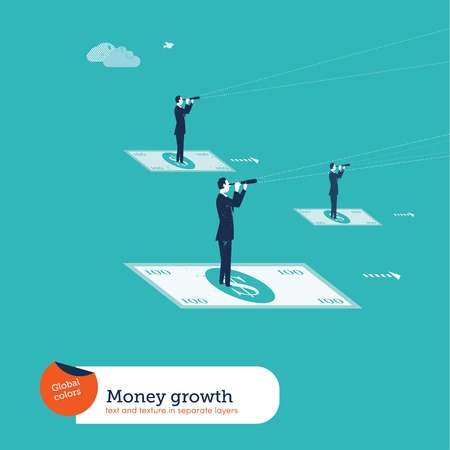investment strategy: Businessmen on 100 dollar bills with spyglasses. Vector illustration file. Global colors. Text and Texture in separate layers. Illustration