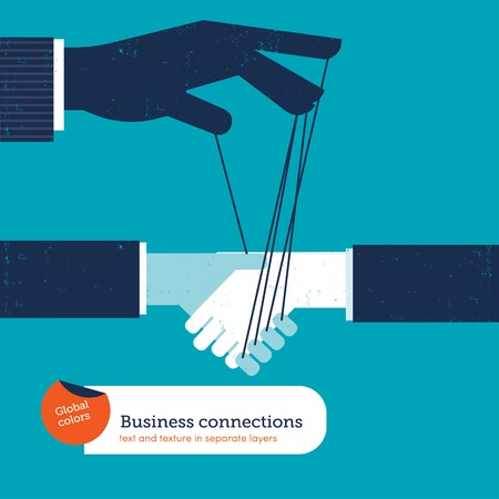 cooperating: Businessman controlling a hand in a handshake. Vector illustration file. Global colors. Text and Texture in separate layers.