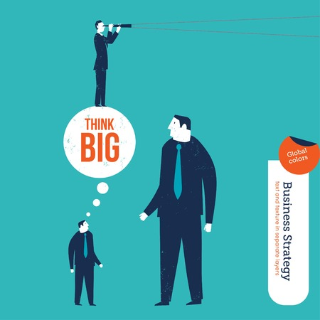business person: Small entrepreneur conquering a giant with big ideas. Vector illustration file. Global colors. Text and Texture in separate layers. Illustration