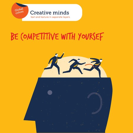 contestant: Business runner winning against himself on a head. Vector illustration file. Global colors. Text and Texture in separate layers.