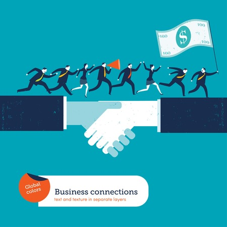 lider: Empresarios en el apretón de manos con un líder con la bandera de 100 dólares. Ilustración vectorial archivo. Mundial de colores. Texto y textura en capas separadas.