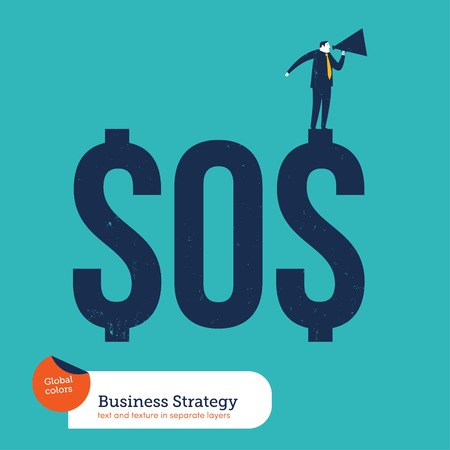 bureaucracy: Businessman with megaphone asking for help from a sos money. Vector illustration file. Global colors. Text and Texture in separate layers. Illustration