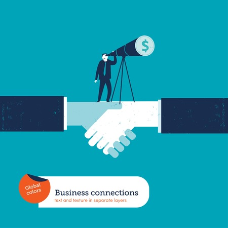 pact: Businessman on a handshake looking through a telescope dollar. Vector illustration file. Global colors. Text and Texture in separate layers.