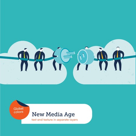 Businesspeople with plug and socket on clouds. Vector illustration file. Global colors. Text and Texture in separate layers. Ilustrace