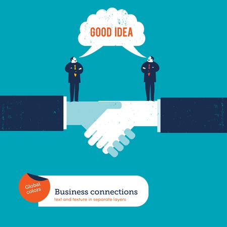 Businessmen on a handshake saying good idea. Vector illustration file. Global colors. Text and Texture in separate layers. Illusztráció