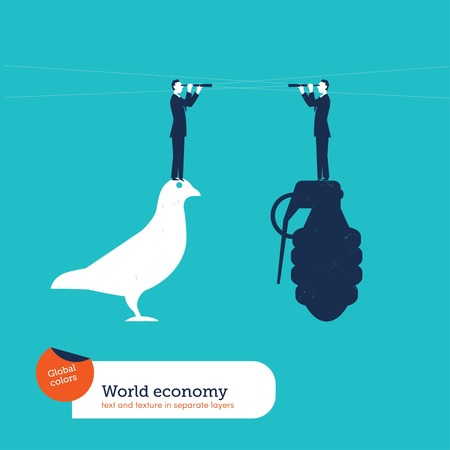 forefront: Businessmen with spyglasses  on a grenade and on a dove. Vector illustration file. Global colors. Text and Texture in separate layers.