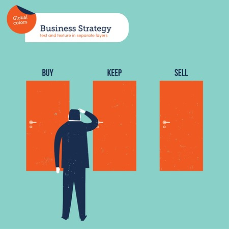 keep in: Businessman in front of three doors buy sell keep. Vector illustration file. Global colors. Text and Texture in separate layers. Illustration