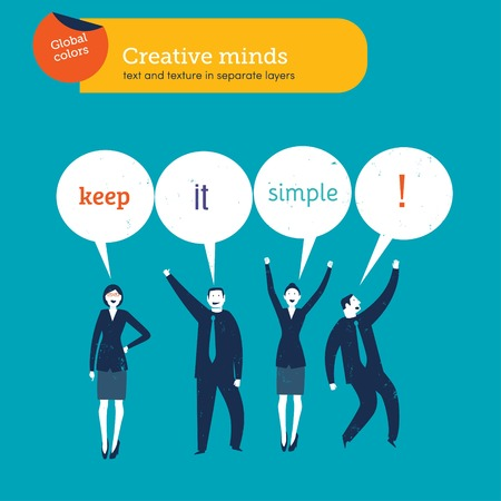 business it: Business people saying keep it simple. Vector illustration file. Global colors. Text and Texture in separate layers.
